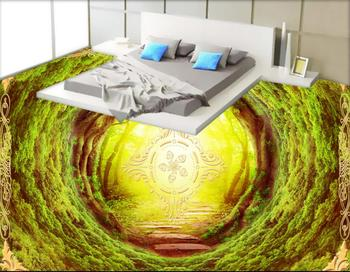 Hollow tunnel fashion 3d floor tiles custom bathroom vinyl flooring waterproof self-adhesive 3d floor wallpaper