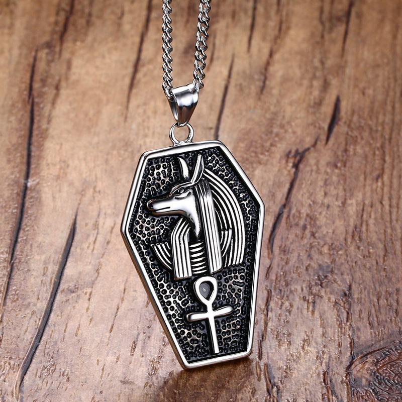 Mens necklaces stainless steel mystical egypt coffin amulet anubis mens necklaces stainless steel mystical egypt coffin amulet anubis ankh pendant necklace vintage collares collier men jewelry in pendant necklaces from aloadofball Images