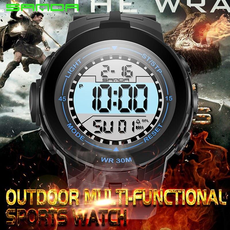 Сандалии модные Для мужчин спортивные часы Водонепроницаемый 30 м открытый весело цифровые часы плавание дайвинг наручные часы Reloj Hombre Montre ...