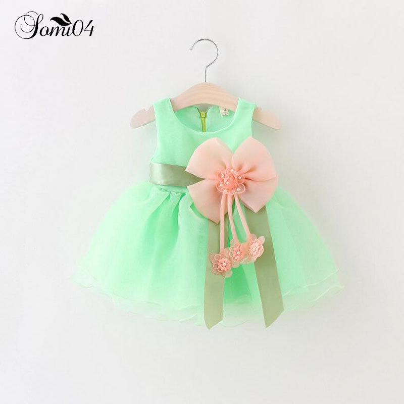 2018 Baby Girls Lace Dress Bowknot Infant Party For Toddler Girl 1 Year Birthday Baptism Clothes Pink Yellow Purple Tutu Dresses 2018 new summer cotton baby girls clothes birthday dress party dresses for girl toddler kids baptism gown tutu outfits