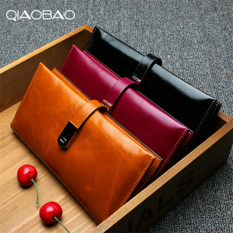 QIAOBAO Brand Fashion Women Wallet 100% Genuine Leather Purse Female Long Design 2018 qiaobao 100