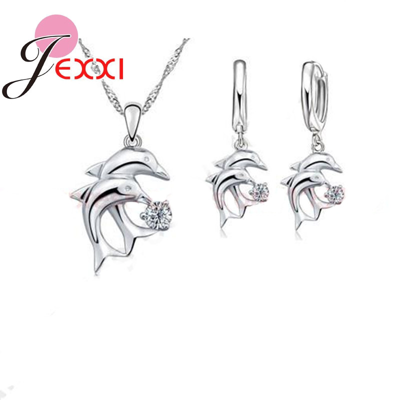 Hot Doule Dolphin Jewelry Sets 925 Sterling Silver Jewellery White Cubic Zirconia Pendant Necklace Lever Back Earring