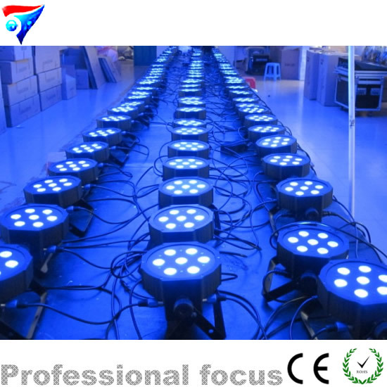 ФОТО Fast shipping 7x 12W RGBW DMX Stage Lights Business Lights Led Flat Par High Power Light with Professional for Party