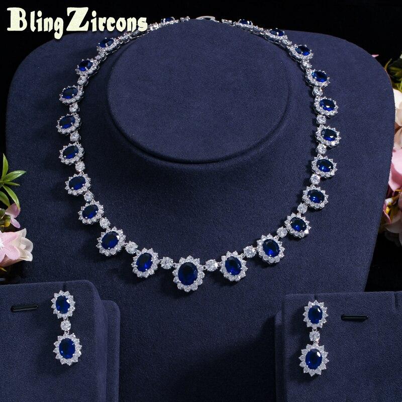 BeaQueen exquis incrusté grand bleu Royal cubique zircone fleur forme CZ collier ensemble de bijoux pour les femmes Banquet de mariage JS058