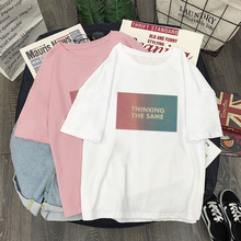 Letter 2019 Summer Plus size Cotton Fashion T Shirts Ladies White Print Short sleeve Cool Tee Top Women Round Neck Tshirt girls letter print round neck tee