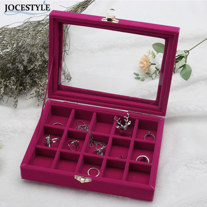 15 Grid Ring Ear Studs Necklace Gift Cardboard Box Jewelry Storage Display Organizer Velvet Jewelry Pack Show Collection Case