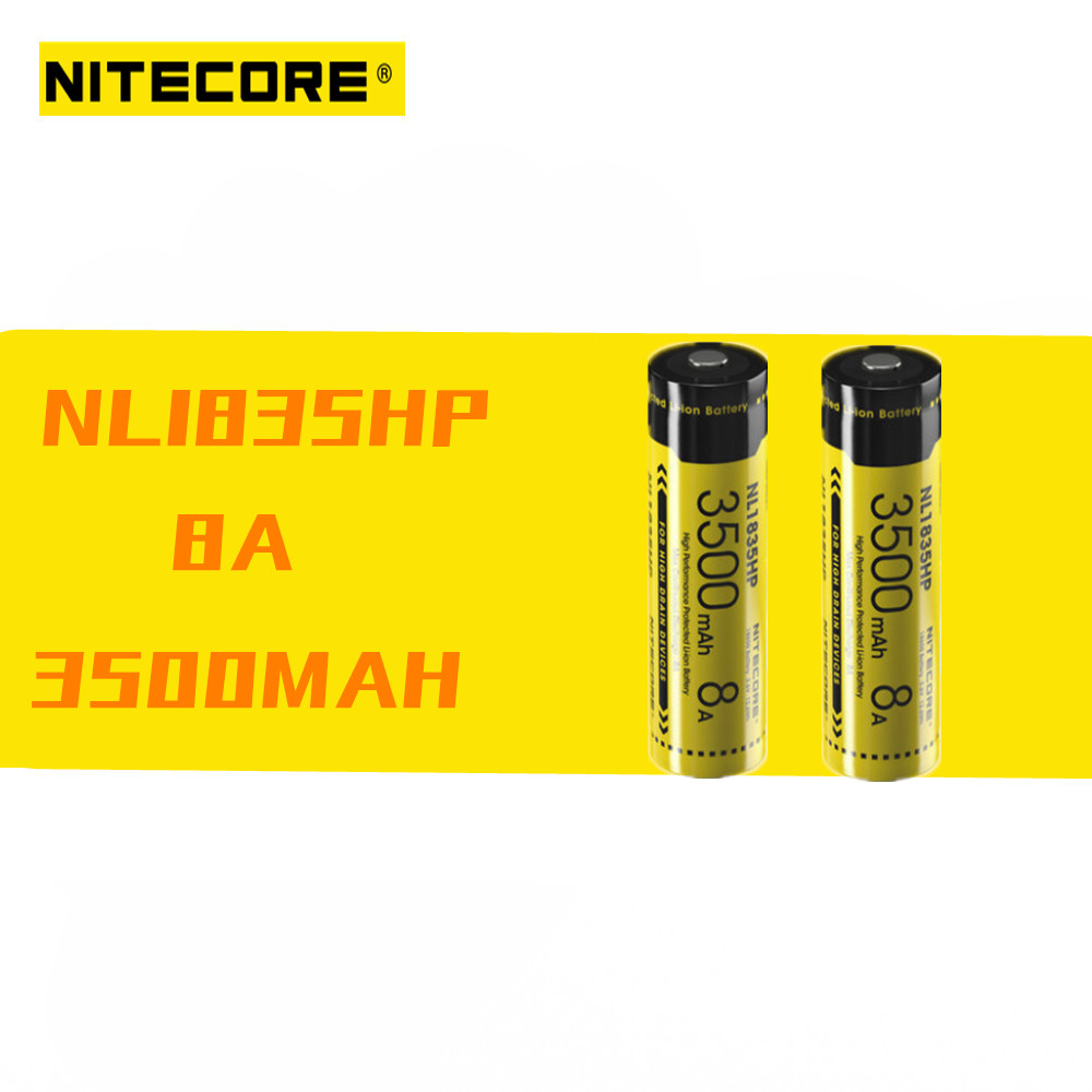 2pcs Nitecore NL1835HP 3500mAh 3.6V 8A 12.6Wh Rechargeable Battery Protected High Performance Button Top For High Drain Devices