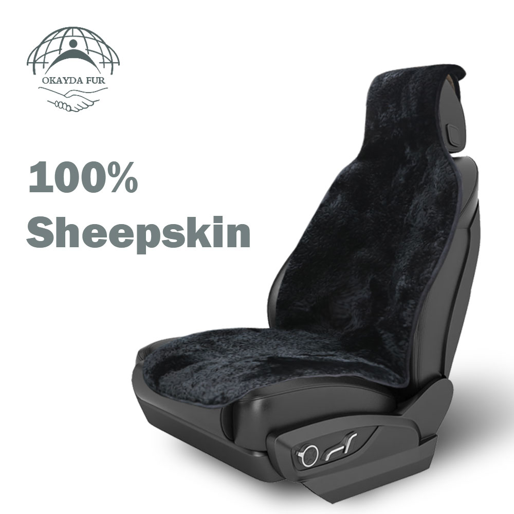 OKAYDA Seat Cover car Front Sheepskin Short fur free shipping Universal Black Color Covers Suitable for Most Cars 1pc