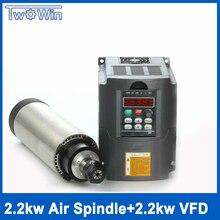 Чпу Мотор Шпинделя 2.2kw ER20 220 В с воздушным охлаждением С ЧПУ Шпинделя 2.2kw + 220 КВТ В Инвертор