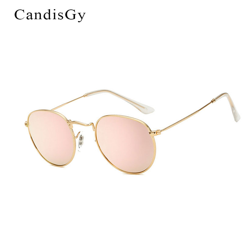 fa515cd74225 Women Fashion Brand Designer Coating Rose Gold Round Sunglasses Metal Frame  Vintage Mirror Sun Retro Glasses Female UV400