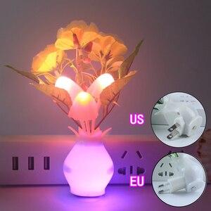 Image 4 - LED kolorowy kwiat lampka nocna czujnik światła lampa ue wtyczka czujnik światła do dekoracji sypialni domu