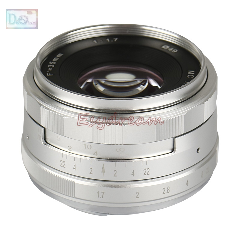 Silver Black NEW 35mm f/1.7 Manual Lens for Sony E Mount NEX 3N 5N 5R 5T 7 A6500 A6300 A6000 A5100 A5000 A3500 A3000 35 mm F1.7