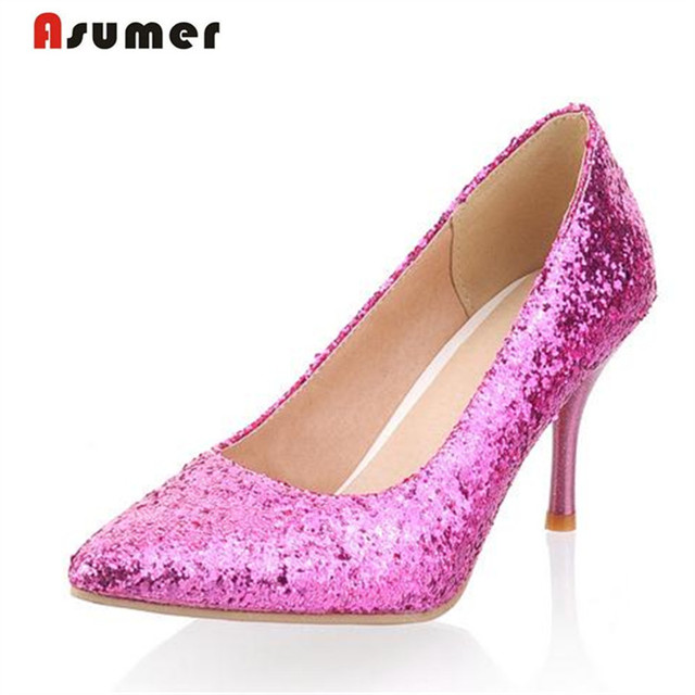 Asumer Thin high heels pointed toe party shoes elegant fashion woman pumps shallow single shoes big size 30-45 spring