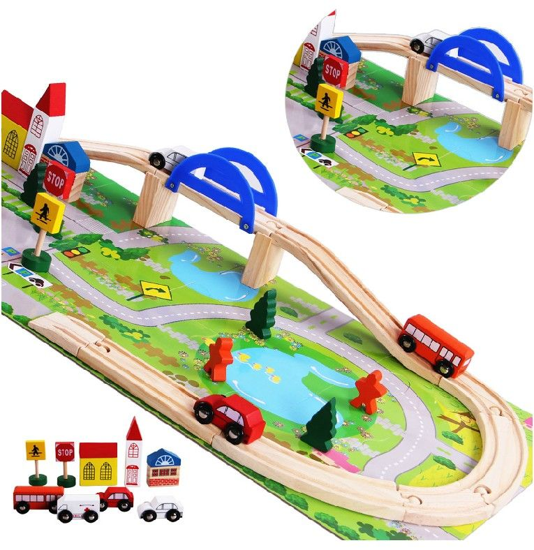 2017 Rushed Cars Brinquedos Wooden Children Traffic Rail Toy Disassembling Combination Track Intersection Baby Educational Toys