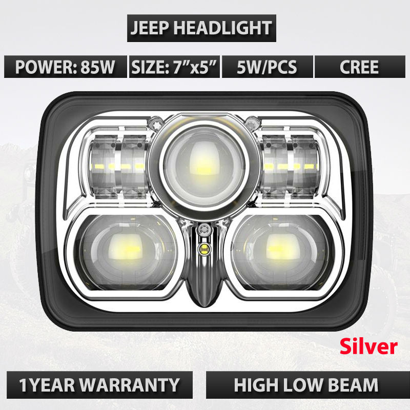7X5 Rectangle 85W / 75W  LED HEADLIGHT FOR Truck Offroad WITH Sealed BEAM REPLACEMENT KIT FOR MOTORCYCLE PAR56 E13 Marking 2pcs 7inch 85w 75w cree led headlight for truck offroad with hi lo beam replacement kit for motorcycle jeep wrangler