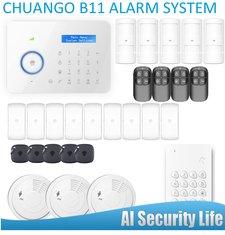 Smart Home Etiger  Chuango B11 Dual network PSTN and GSM burglar Security Alarm System Built-in LCD Display and Touched Screen energy aware technique for wireless sensor network