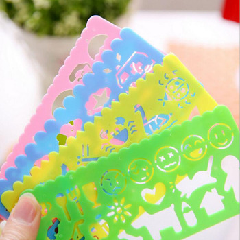 4pcs/ Set Of Art Painting Template Ruler Puzzle Stationery Children'S Drawing Figure Ruler Cartoon Stationery Office Supplies