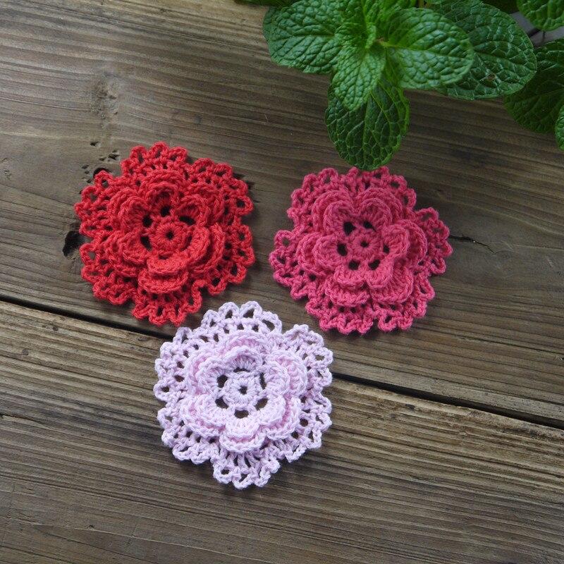Handmade crocheted snowflake diy colorful crochet applique 3d flower warm home wedding - Decoration au crochet ...