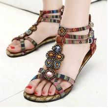 2015 Bohemia Style Beading Women Falts Sandals Cusual Summer Shoes Rhinestone 34-41 Sapatos Femininos