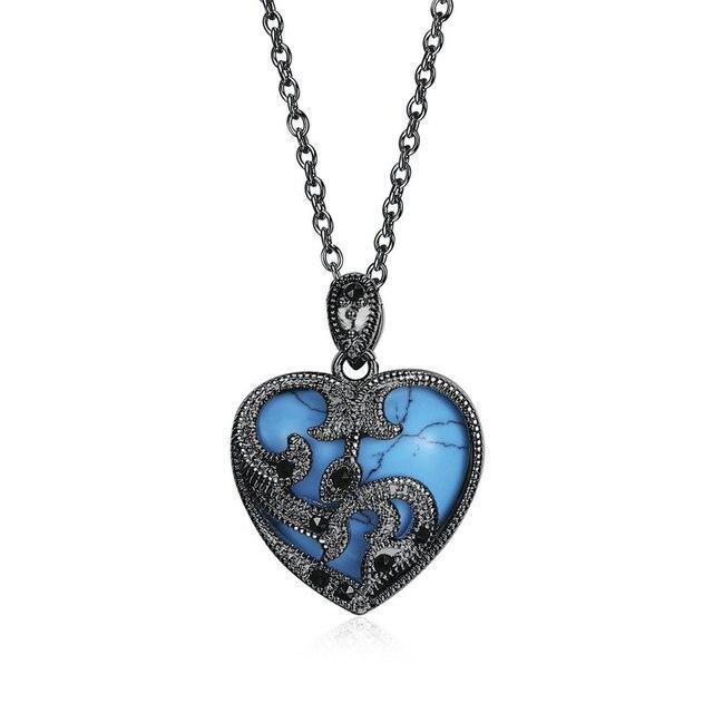Jenia Ladies Romantic Black Gun Plated Blue Heart Shaped Stone Pendant  Necklace Valentine Romantic Gift GEMN002 0ee8c5831785