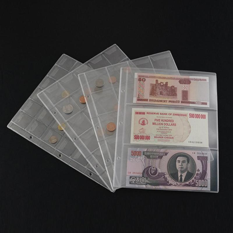 Держатель для монет из ПВХ, альбом для хранения банкнот с листами россыпью, 1 страница