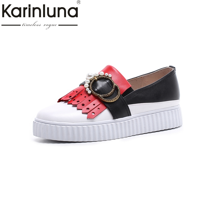KARINLUNA Size 34-39 Fashion Round Toe Cow Leather Buckle Women Shoes Woman Leisure Slip On Breathable Flats Genuine Leather сумка printio день щупальца day of the tentacle
