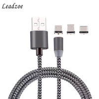 Leadzoe 3 In 1 Magnetic Cable For IPhone Micro USB Type C Fast Charge 1M Nylon