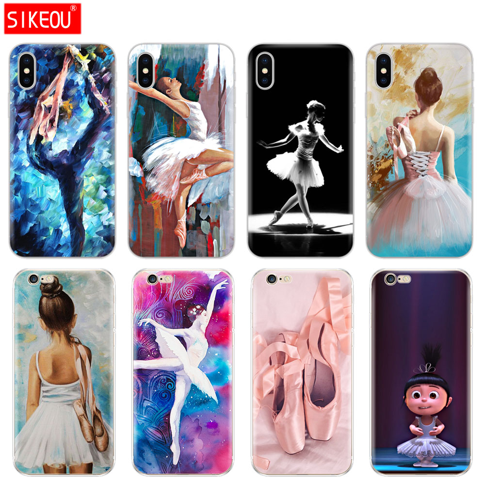 Silicone Cover Phone <font><b>Case</b></font> For <font><b>Iphone</b></font> 6 X <font><b>8</b></font> 7 6s 5 5s SE <font><b>Plus</b></font> 10 XR XS Max <font><b>Case</b></font> <font><b>Ballet</b></font> Dance Girl Ballerina <font><b>ballet</b></font> slippers image