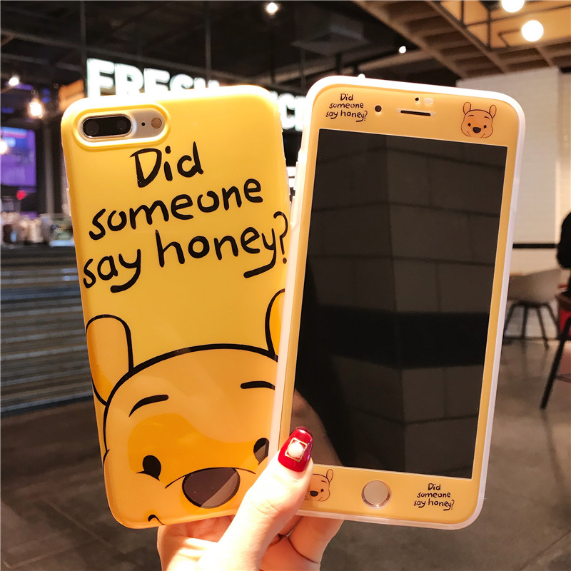 For iPhone 7 7Plus Daisy Case + Tempered Glass Screen film , Cartoon Pooh Cute Donald TPU Cover for iPhone 8 8plus 6 6S 6SPlus