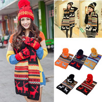 Winter Warm Women Fashion Knitted Scarf And Hat Set Crochet Cap Christmas Gifts