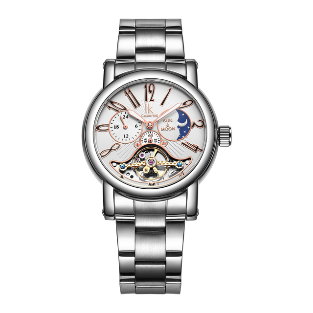 821c12ca553 IK Colouring Relógios Mecânicos Homens de Aço Completa Luxo Luminous  Esqueleto Oco Moda Automatic Mens Relógios