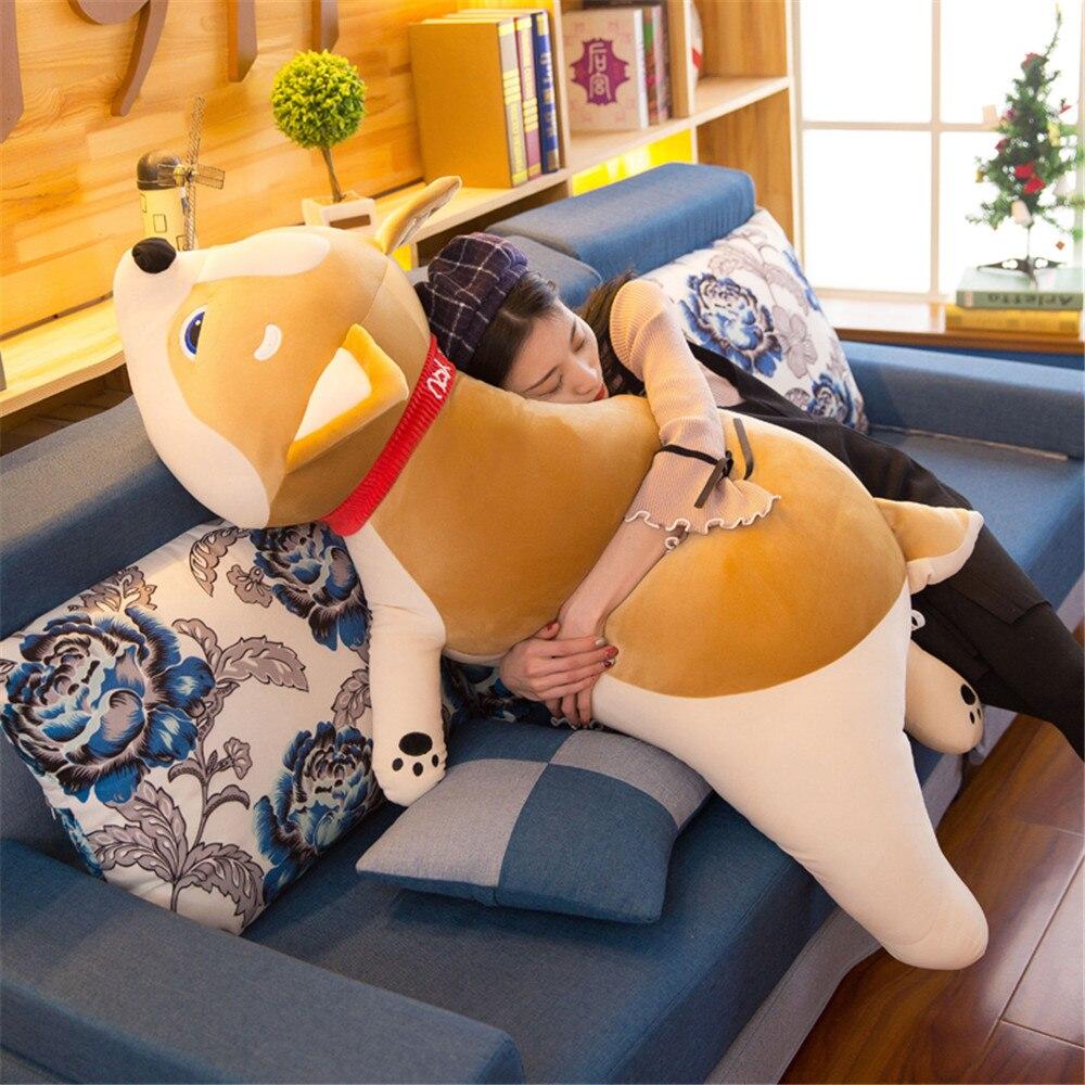 Fancytrader Pop doux couché Animal Shiba Inu en peluche oreiller Anime Akita poupée dessin animé chien oreiller pour la saint valentin présent