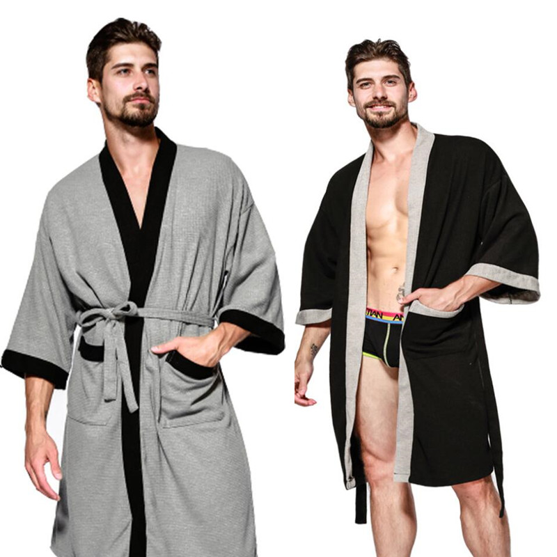 2019 Spring Autumn New V-Neck Robe Sleepwear Bathrobe Men's Casual Solid Chinese Kimono Gown Loose Intimate Lingerie Robes