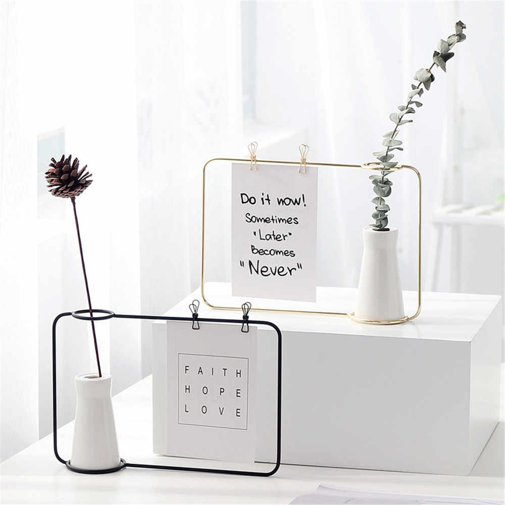 Nordic Iron Ceramic Tabletop Vase Creative Iron Frame Stand Postcard Holder Eurpe Simple Style Flower Pot Photo Frame 24x17cm