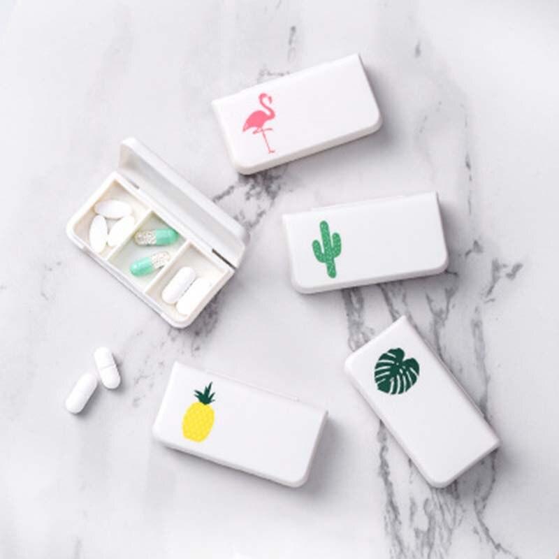 Pill Medical Kit Tablet Flamingo Cactus Leaf Pillbox Dispenser Dispensing Small Kit Organizer Case With 3 Lattices 1PC