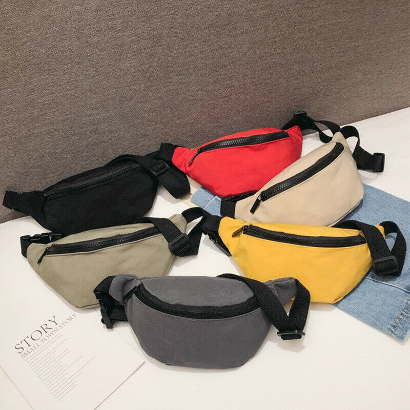 Cute Girl Lady Waist Bag Casual Solid Color Nylon Zipper Fanny Pack Outdoor Travel Chest Bag