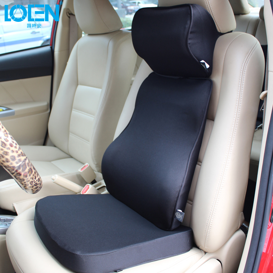 LOEN Super Soft Car Cushion Set Memory Foam Car Lumbar Support Set Back Lumbar Neck Pillow Seat Cushion for Driving Office Home loen 1set of leather memory foam car seat support cover lumbar back cushion office chair lumbar support headrest neck pillow