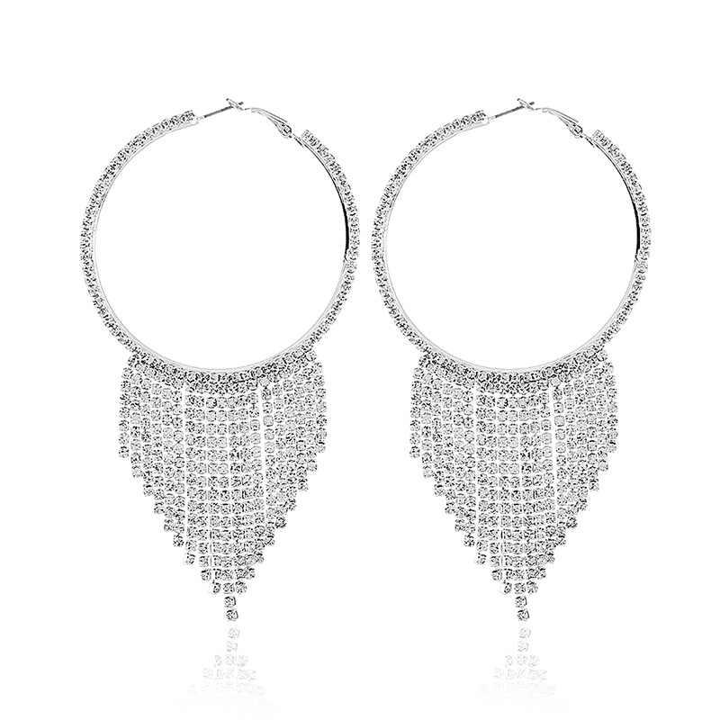 Luxury Big hoops earrings for women rhinestone tassel statement earrings 2018 crystal large earings fashion prom stage jewelry