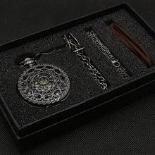 Conjuntos de regalo de Reloj de bolsillo mecánico semiautomático para hombres y mujeres, collar con colgante, reloj, regalos de cumpleaños P825WBWB
