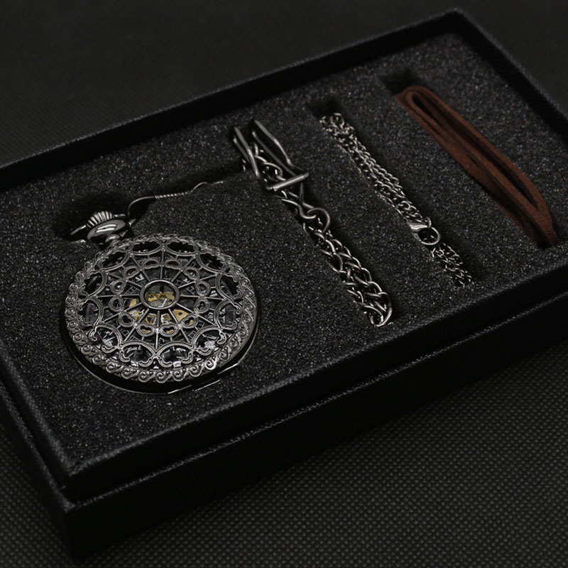 Hollow Semi Automatic Mechanical Pocket Watch Gift Sets for Men Women Necklace Pendant Clock Birthday Presents P825WBWBmechanical pocket watchpocket watchpocket watch set -