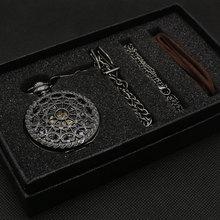 Купить с кэшбэком Hollow Semi Automatic Mechanical Pocket Watch Gift Sets for Men Women Necklace Pendant Clock Birthday Presents P825WBWB