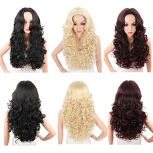 Deyngs Long Synthetic Wigs For Black Women 28Inch Bouncy Curly Naturally Black/Blonde/Red Color Women's Hair Wig Heat Resistant