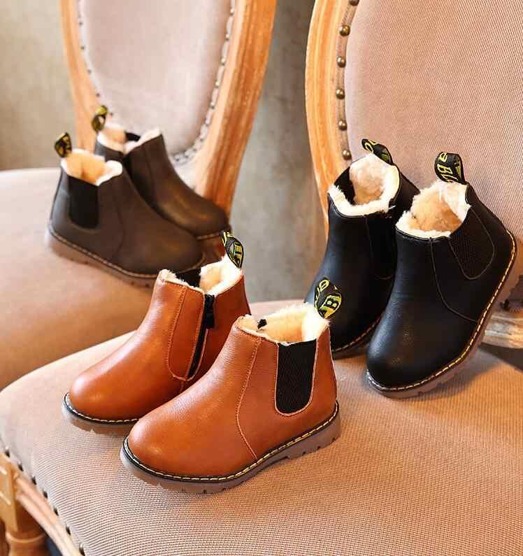 למעלה מכירת ילדים של מגפי סתיו חורף חדש בני אדון רוכסן אופנה מגפי בנות החלקה חם שלג מגפיים גודל 21-30