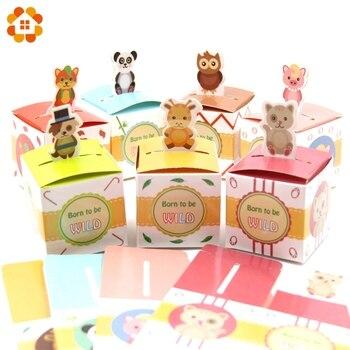 10 pz 8 Tipi di Animale Sveglio Della Caramella Confezione regalo FAI DA TE Scatola di Carta Per Bambini Regalo Contenitore di Caramella per I Bambini Festa di Compleanno forniture Baby Shower Favori