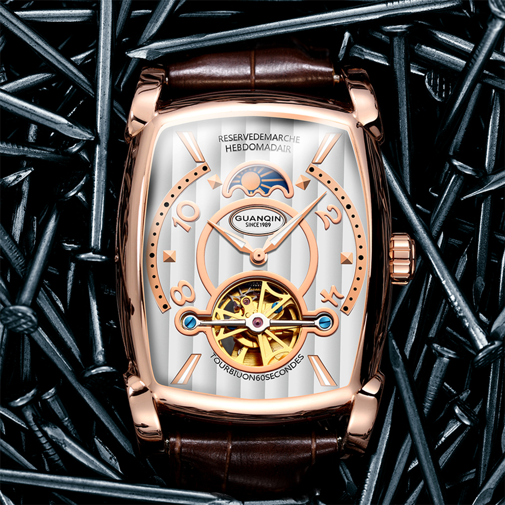 GUANQIN 長方形ラグジュアリートゥールビヨンメンズの機械式時計 3Bar 防水レザー腕時計自動男性 Erkek Kol Saati  グループ上の 腕時計 からの 機械式時計 の中 1