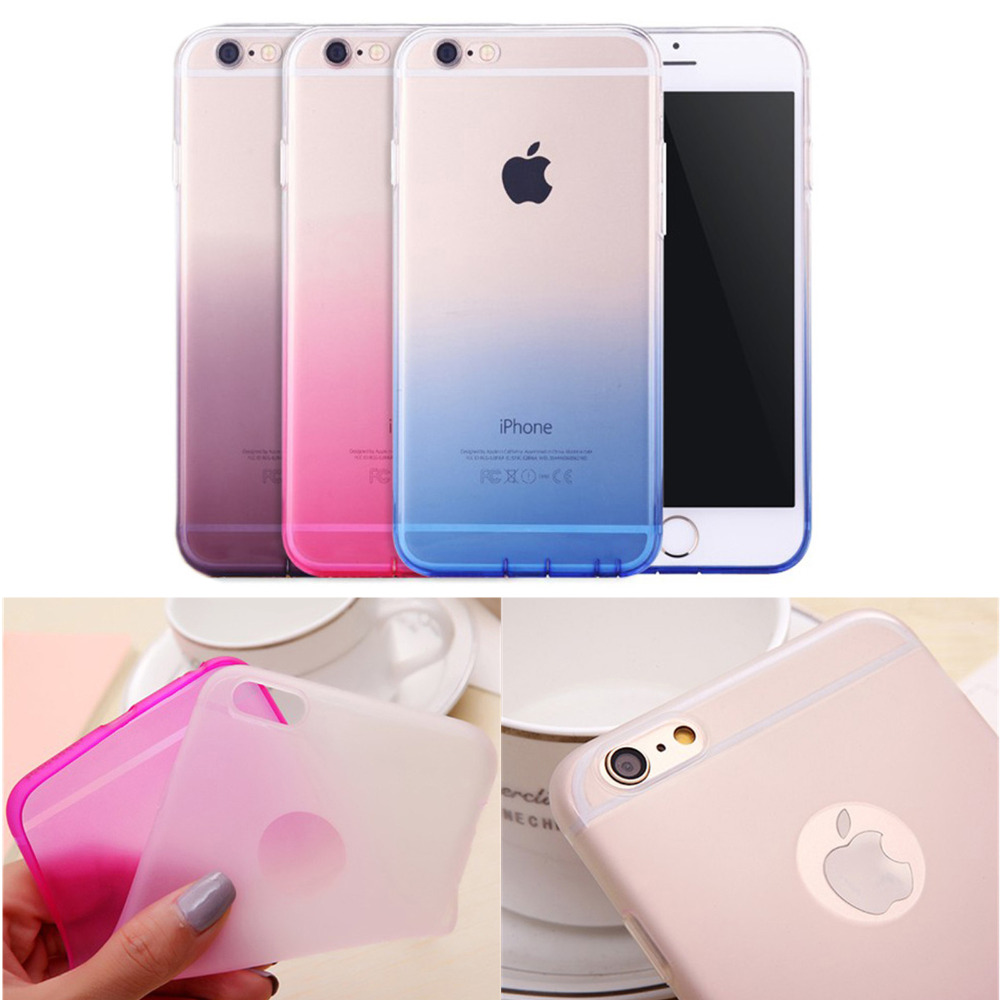 Casos de teléfono para apple iphone 6 6s case diseño degradado de color transpar