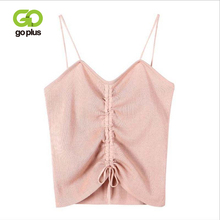 GOPLUS 2019 Sexy Strap Front Lace up Bow Knitted Tank Top Women Soft Cotton Elastic Basic Vest Summer Casual Slim Camis Female