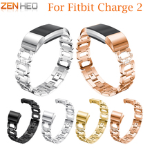 Stainless Steel Strap For Fitbit Charge 2 Watch Band Rhinestone Diamond Smart Watch Band 195mm Bracelet For Fitbit Charge 2 hot sale fabulous genuine stainless steel bracelet smart watch band strap for fitbit charge 2 drop shipping wholesale