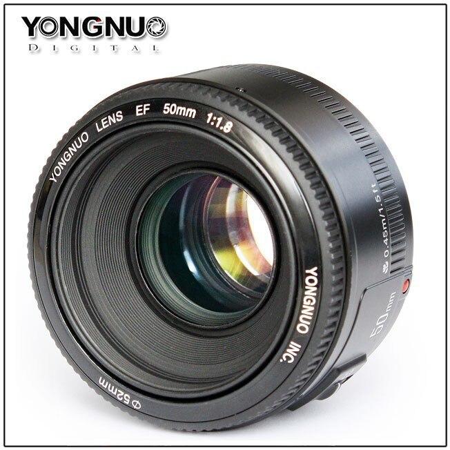 Prix pour YONGNUO Lentille YN50mm f1.8 YN EF 50mm f/1.8 Objectif AF YN50 Ouverture Mise Au Point automatique pour Canon EOS 60D 70D 5D2 5D3 600d Canon DSLR caméras