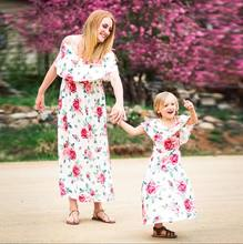 Fasion Family Off the Shoulder Dress Mother and Daughter Matching Girls Outfits Print Dresses(China)